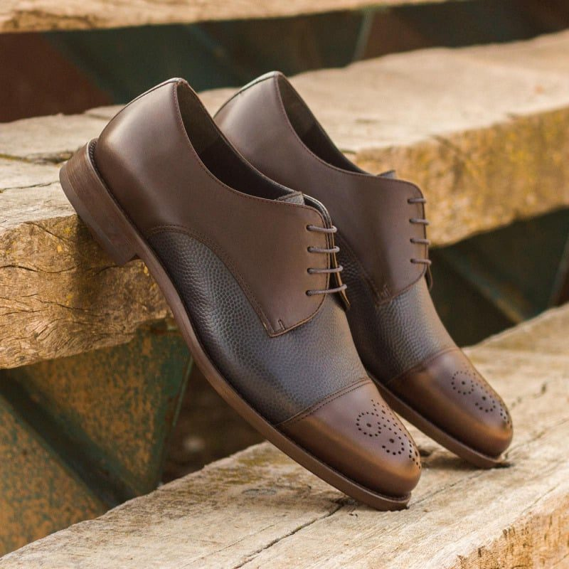 Custom Made Derby in Dark Brown Box Calf with Navy Blue Pebble Grain Leather