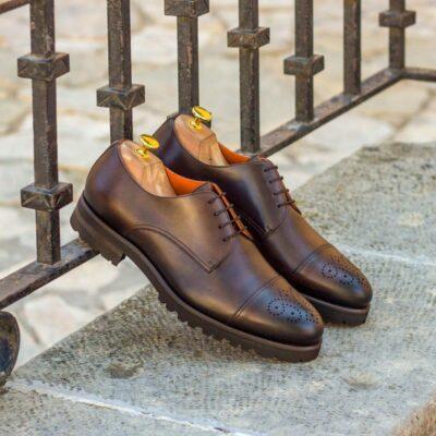 Custom Made Derby in Dark Brown Painted Calf Leather