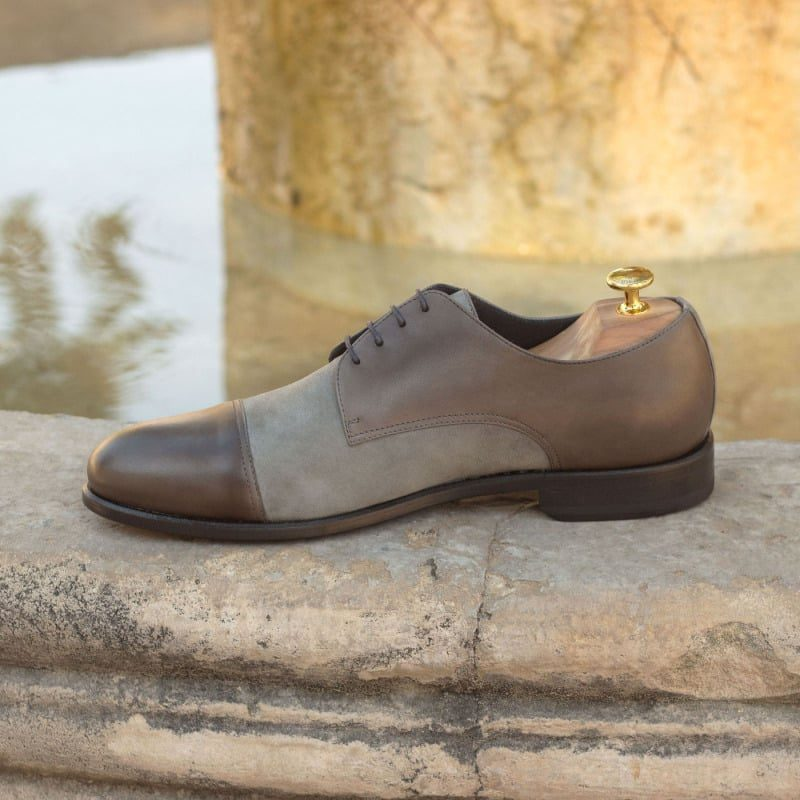Custom Made Derby in Grey Painted Calf Leather with Light Grey Kid Suede