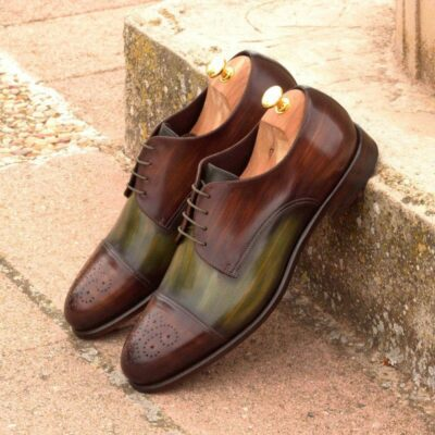 Custom Made Derby in Italian Raw Crust Leather with Brown and Khaki Papiro Hand Patina