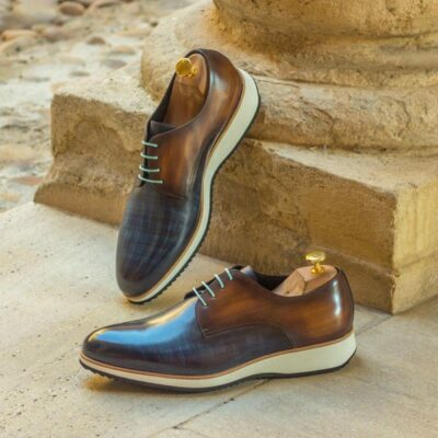 Custom Made Derby in Italian Raw Crust Leather with Denim and Cognac Hand Patina
