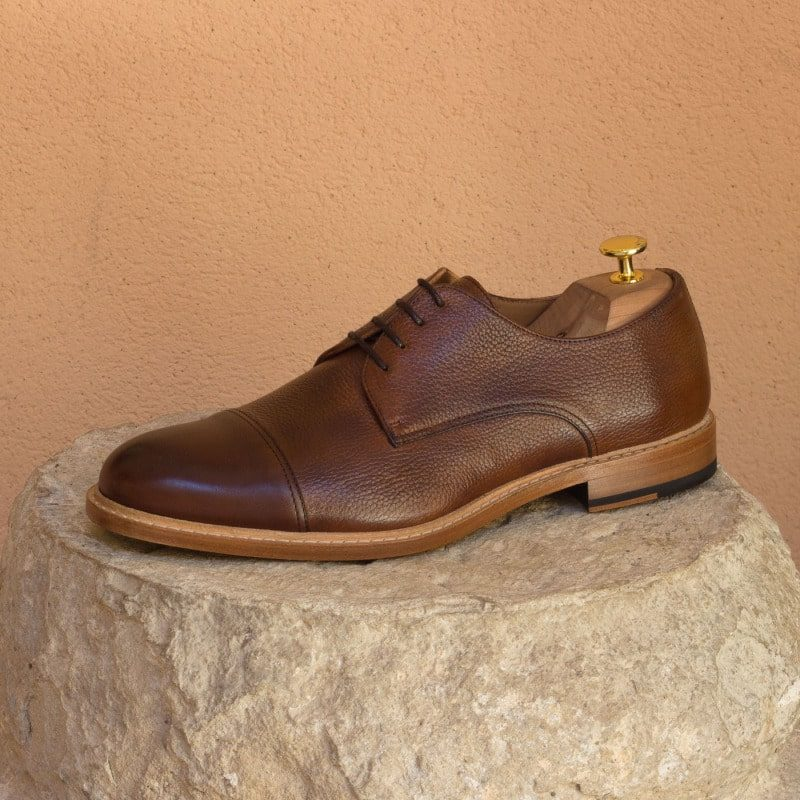 Custom Made Derby in Medium Brown Painted Calf and Full Grain Calf Leather