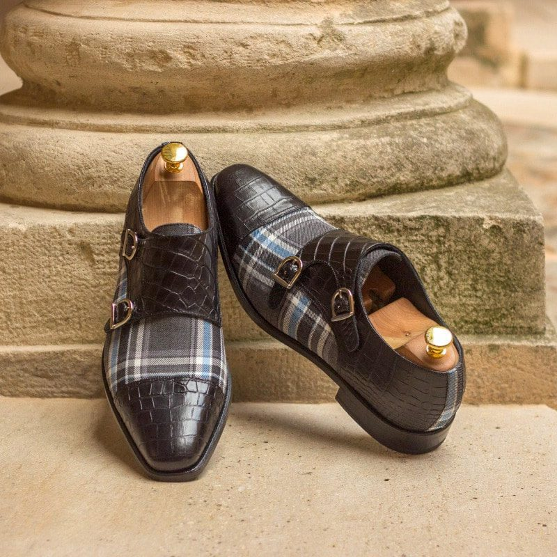 Custom Made Double Monks in Black Croco Embossed Calf and Plaid Sartorial
