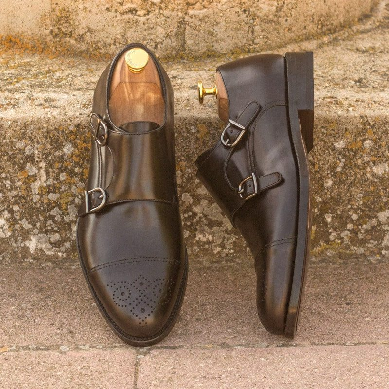 Custom Made Double Monks in Black Polished Calf Leather