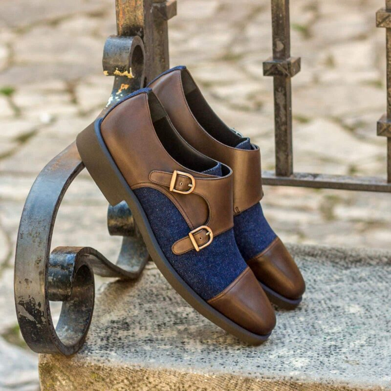 Custom Made Double Monks in Dark Brown Painted Calf Leather and Denim