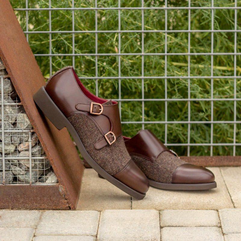 Custom Made Double Monks in Dark Brown Polished Calf Leather and Herringbone