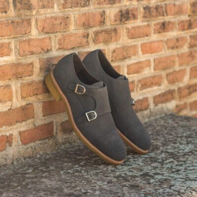 Custom Made Double Monks in Grey Luxe Suede
