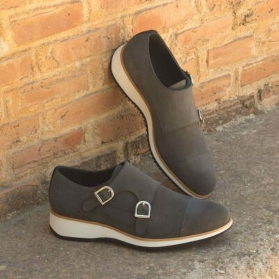 Custom Made Double Monks in Grey and Black Luxe Suede