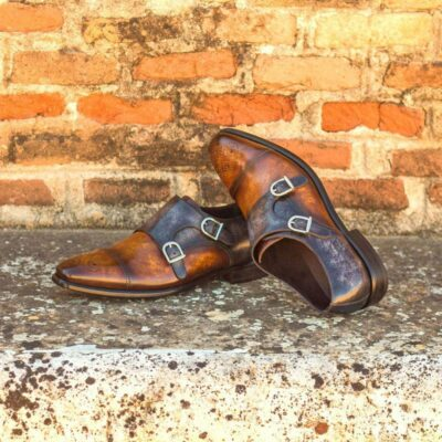 Custom Made Double Monks in Italian Raw Crust Leather with Denim, Grey and Cognac Hand Patina