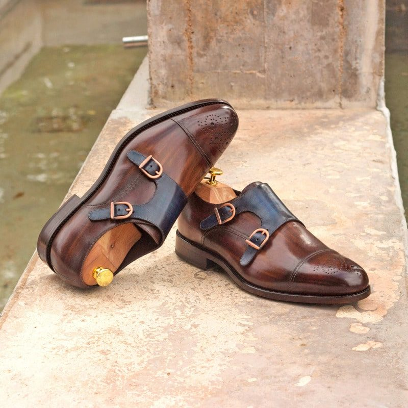 Custom Made Double Monks in Italian Raw Crust Leather with Denim and Brown Hand Patina