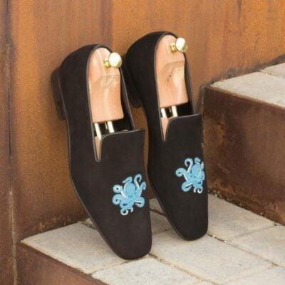Custom Made Drake Slippers in Black Suede