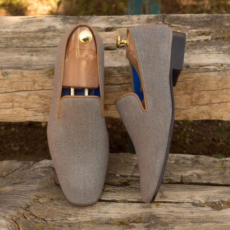 Custom Made Drake Slippers in Grey Linen