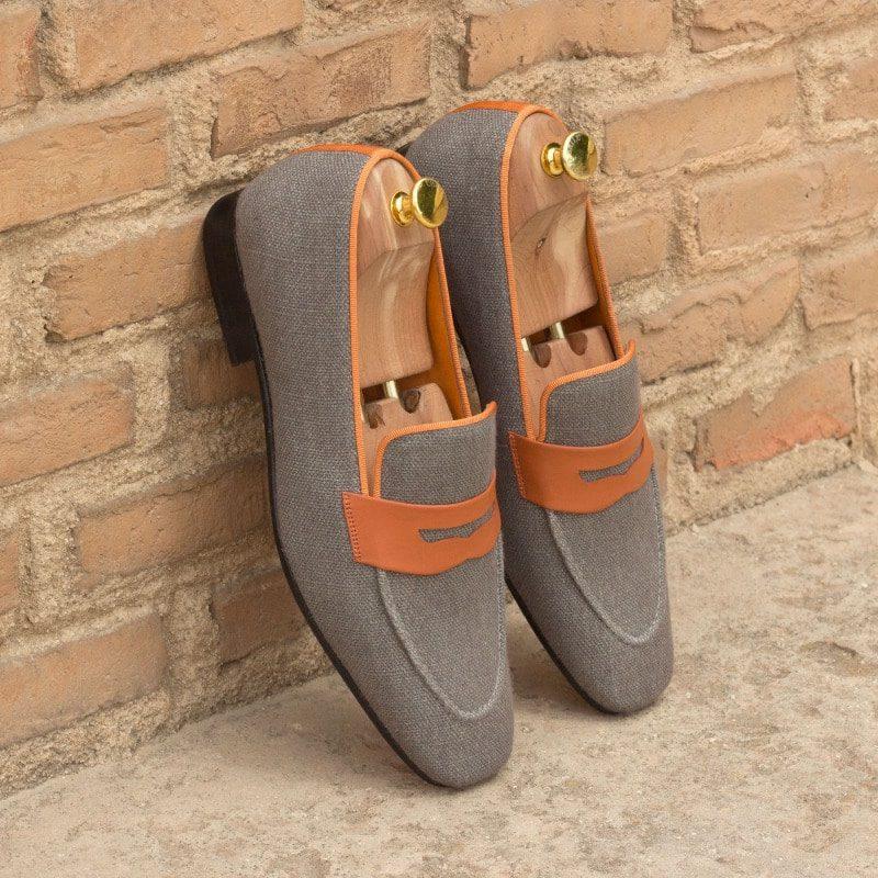 Custom Made Drake Slippers in Grey Linen and Orange Grosgrain