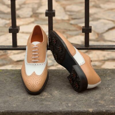 Custom Made Full Brogue Golf Shoes in White Box Calf and Fawn Pebble Grain Leather