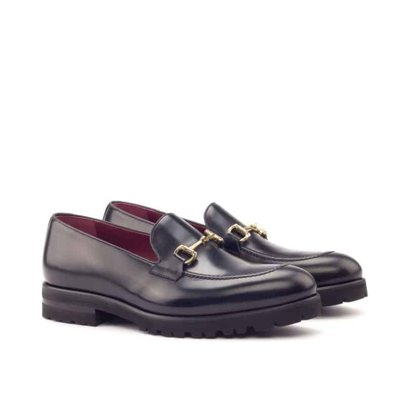 Custom Made Loafers in Black Croco Embossed Calf with Black Box and Polished Calf Leather