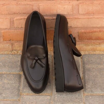 Custom Made Loafers in Black Polished Calf and Pebble Grain Leather