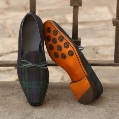 Custom Made Loafers in Blackwatch with Navy Blue Painted Calf Leather
