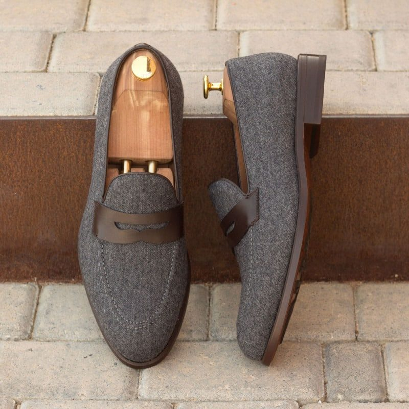 Custom Made Loafers in Dark Grey Flannel with Dark Brown Box Calf