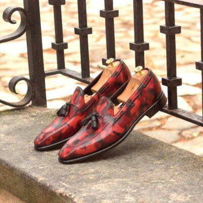 Custom Made Loafers in Italian Raw Crust Leather with Burgundy Camo Hand Patina
