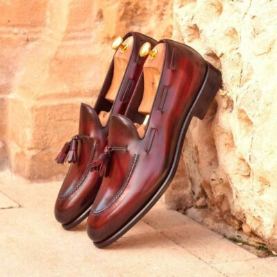 Custom Made Loafers in Italian Raw Crust Leather with Burgundy Hand Patina