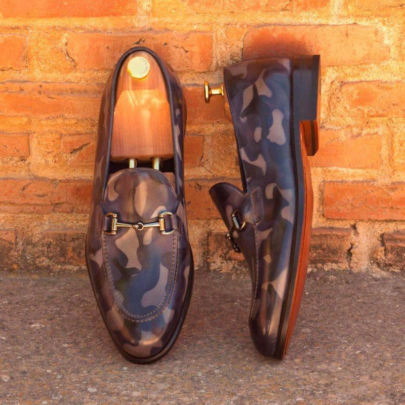 Custom Made Loafers in Italian Raw Crust Leather with Denim Camo Patina