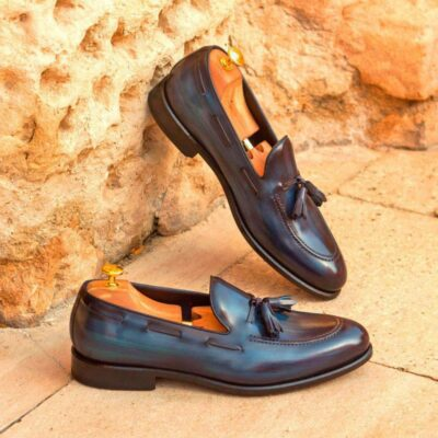 Custom Made Loafers in Italian Raw Crust Leather with Denim Hand Patina
