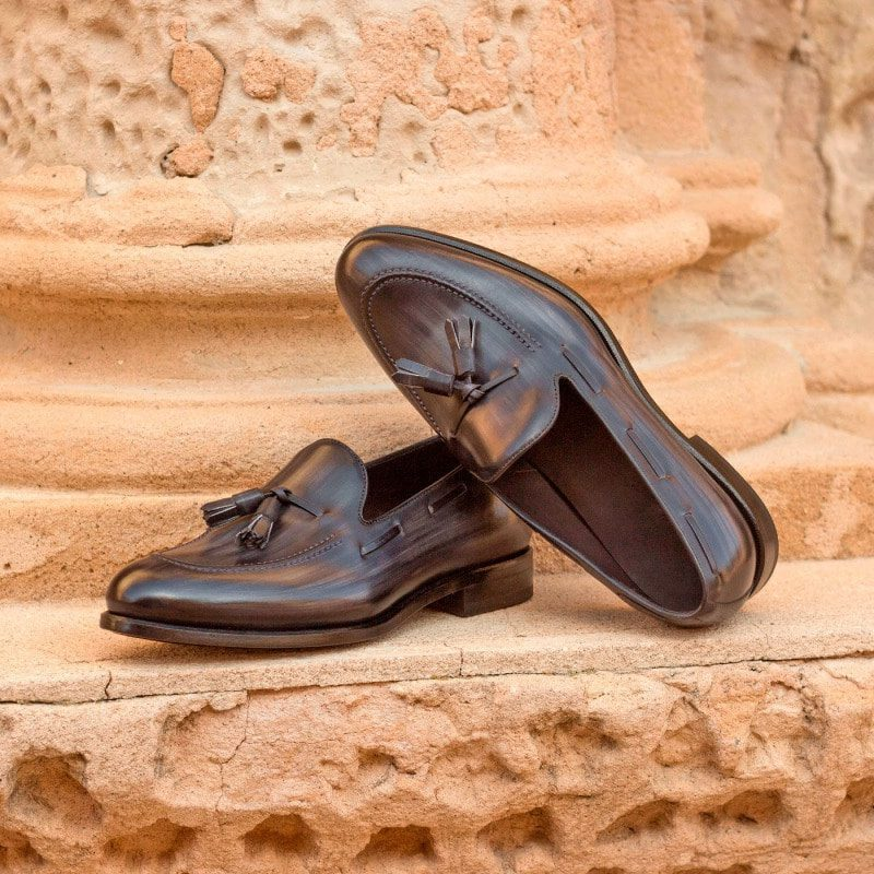Custom Made Loafers in Italian Raw Crust Leather with Grey Hand Patina