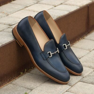 Custom Made Loafers in Navy Blue and Cognac Painted Calf with Black Box Calf Leather