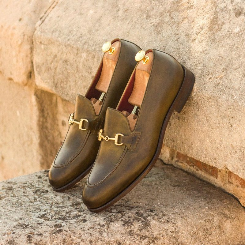 Custom Made Loafers in Olive Green Painted Calf Leather