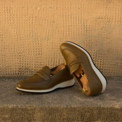 Custom Made Loafers in Olive Green Painted Full Grain Leather
