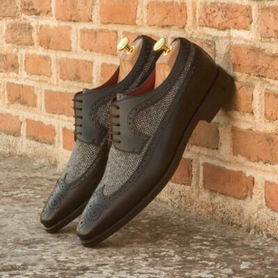 Custom Made Long Wingtip Blucher in Black Painted Calf Leather with Herringbone Wool