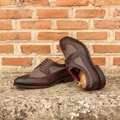 Custom Made Long Wingtip Blucher in Brown Croco Embossed Calf and Tweed