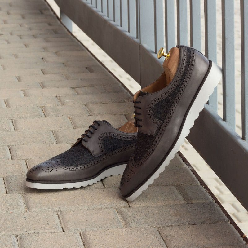 Custom Made Long Wingtip Blucher in Grey Painted Calf with Dark Grey Flannel