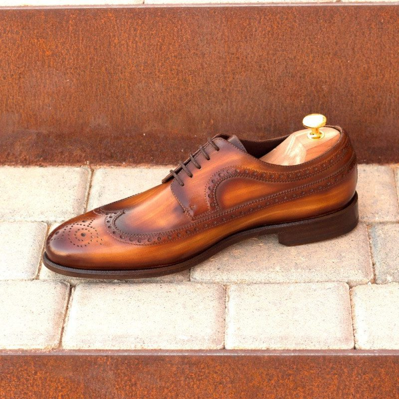 Custom Made Long Wingtip Blucher in Italian Raw Crust Leather with a Cognac Hand Patina