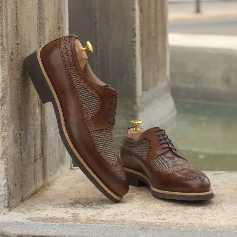 Custom Made Long Wingtip Blucher in Medium Brown Painted Calf Leather with Wool Tweed