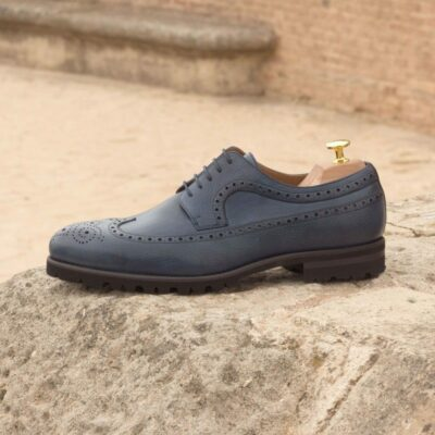 Custom Made Long Wingtip Blucher in Navy Blue Painted Calf and Full Grain Leather