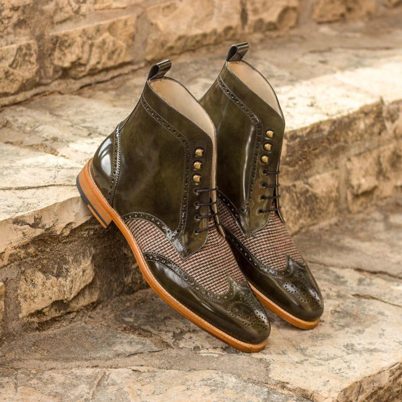 Custom Made Military Brogue Boot in Green Polished Calf and Tweed