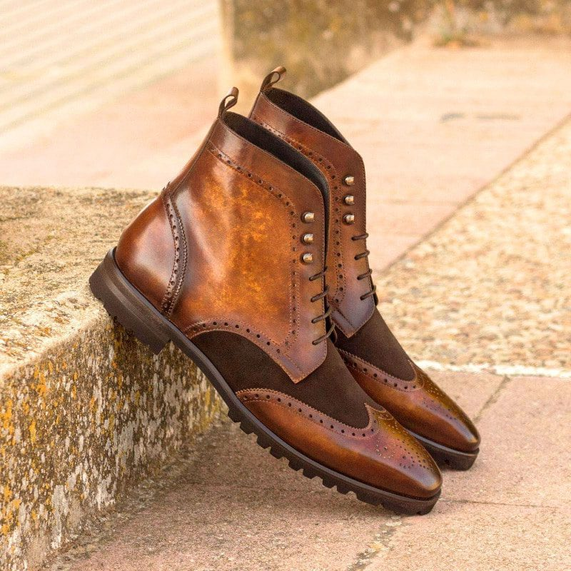 Custom Made Military Brogue Boot in Italian Raw Crust Leather with Cognac Hand Patina and Dark Brown Luxe Suede