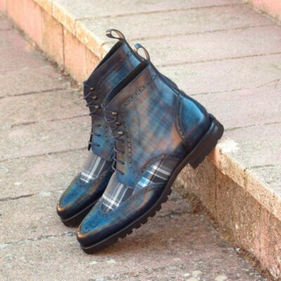 Custom Made Military Brogue Boot in Italian Raw Crust Leather with Denim Hand Patina and Plaid Sartorial