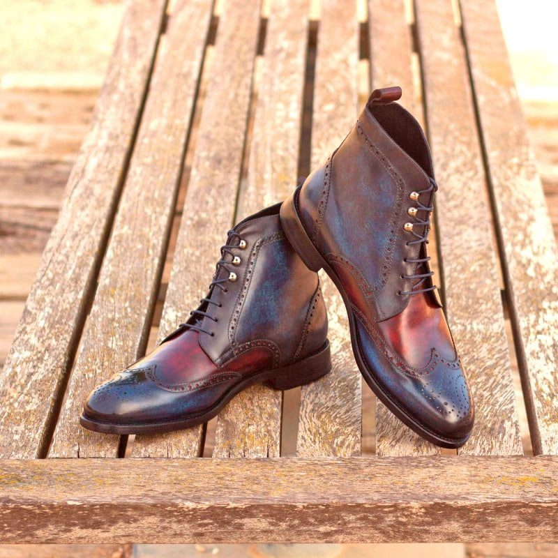 Custom Made Military Brogue Boot in Italian Raw Crust Leather with Denim and Burgundy Hand Patina