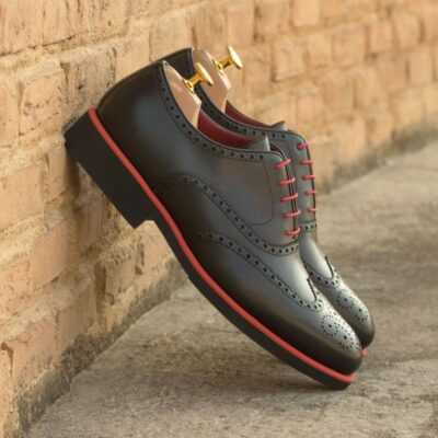Custom Made Wingtips in Black Painted Calf Leather