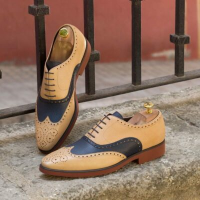 Custom Made Wingtips in Fawn and Navy Blue Pebble Grain Leather