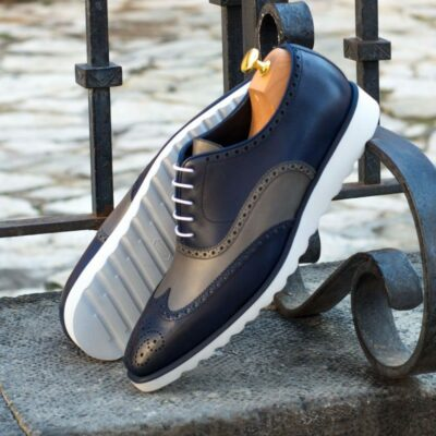 Custom Made Wingtips in Grey and Navy Blue Painted Calf Leather