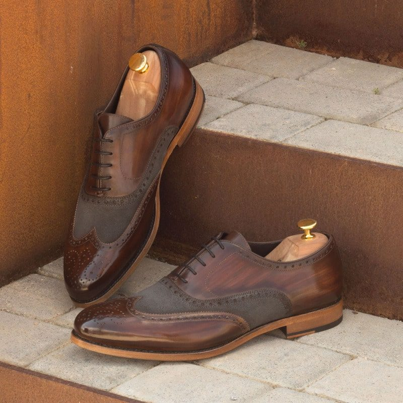 Custom Made Wingtips in Italian Raw Crust Leather with Brown Hand Patina and Grey Luxe Suede