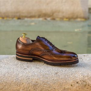 Custom Made Wingtips in Italian Raw Crust Leather with Brown Hand Patina and Medium Brown Luxe Suede