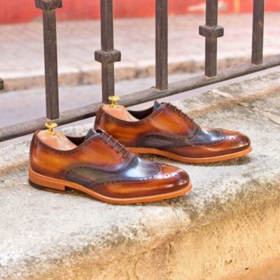 Custom Made Wingtips in Italian Raw Crust Leather with Cognac and Grey Hand Patina