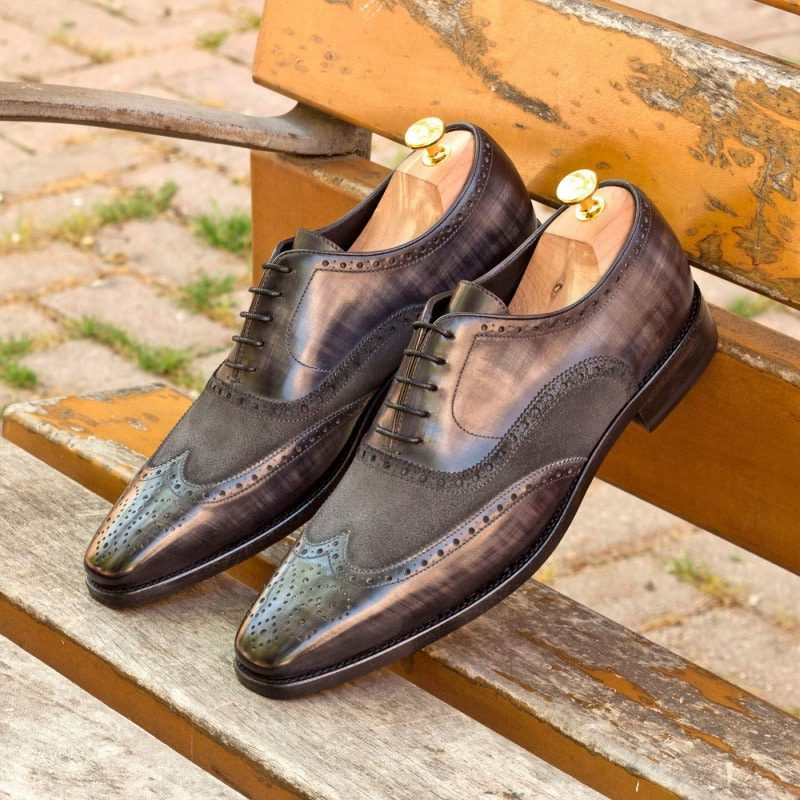 Custom Made Wingtips in Italian Raw Crust Leather with Grey Hand Patina with Grey Luxe Suede