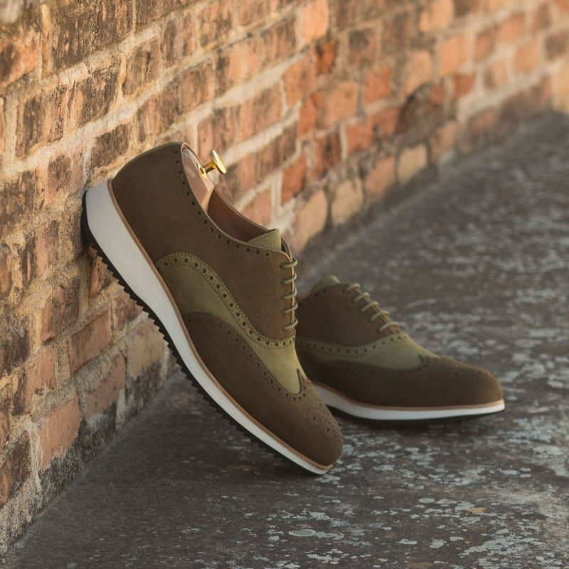 Custom Made Wingtips in Khaki Luxe and Kid Suede