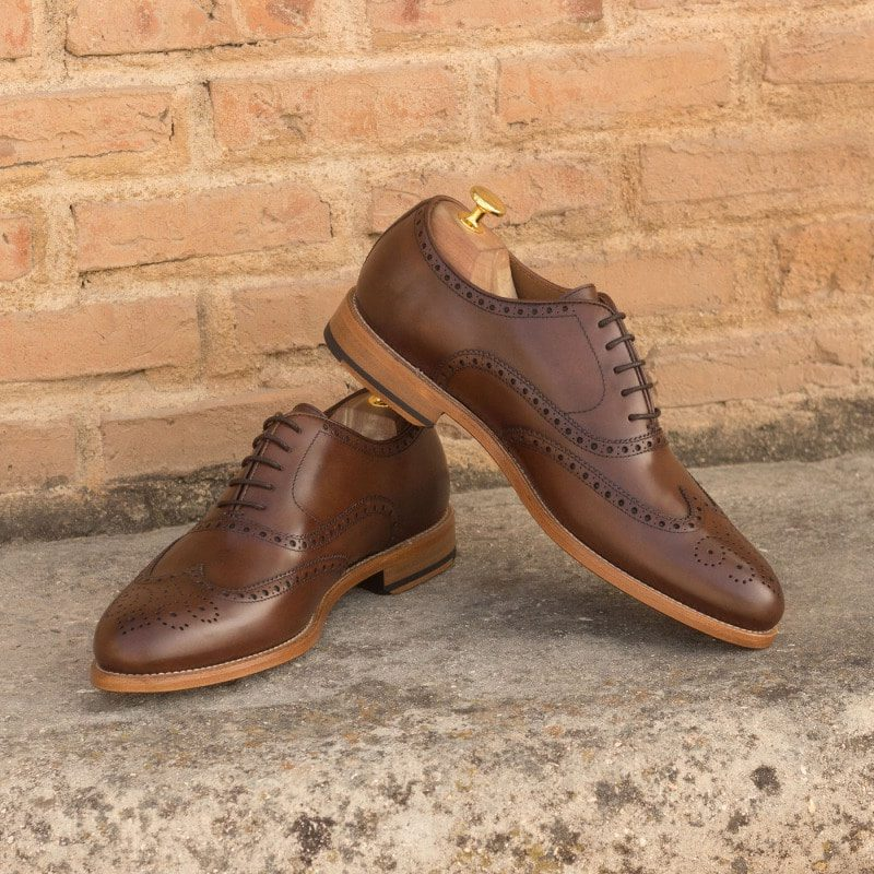 Custom Made Wingtips in Medium Brown Polished Calf Leather