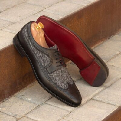 The Longwing Blucher in Black Painted Calf Leather with Herringbone Wool